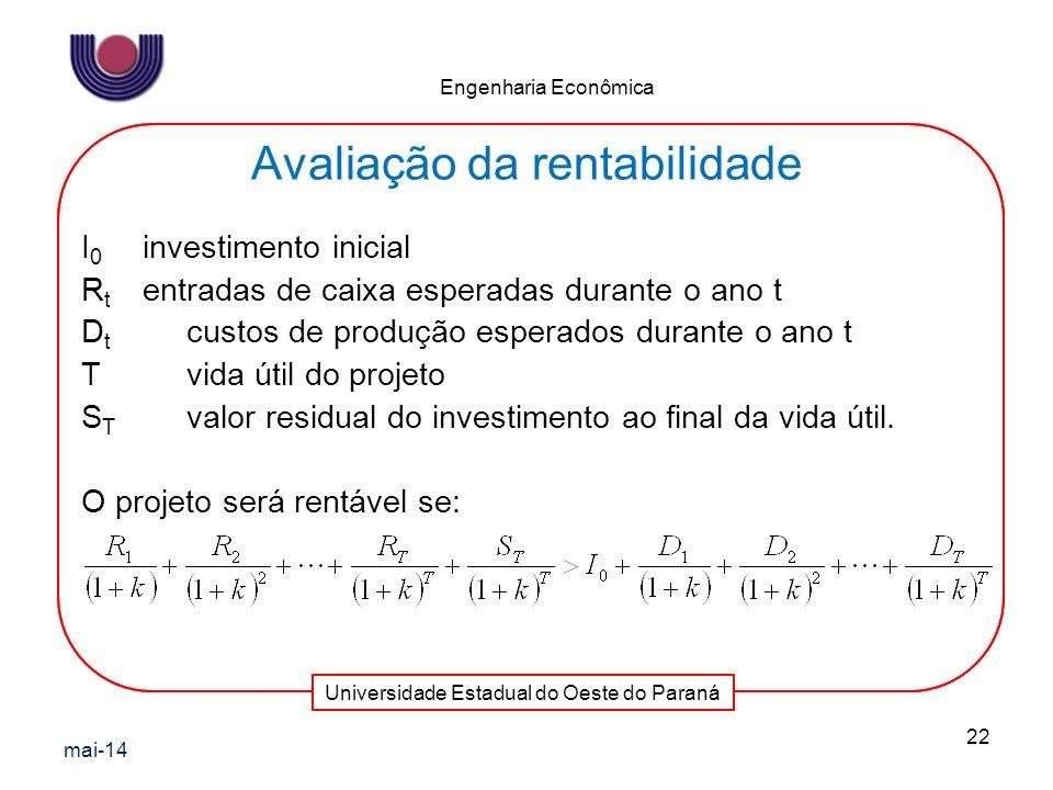 Universidade Estadual do Oeste do Paraná Engenharia Econômica I 0 investimento inicial R t entradas de caixa esperadas durante o ano t D t custos de p
