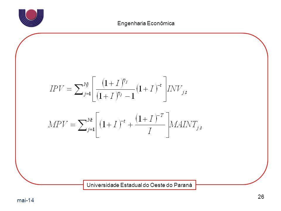 Universidade Estadual do Oeste do Paraná Engenharia Econômica mai-14 26