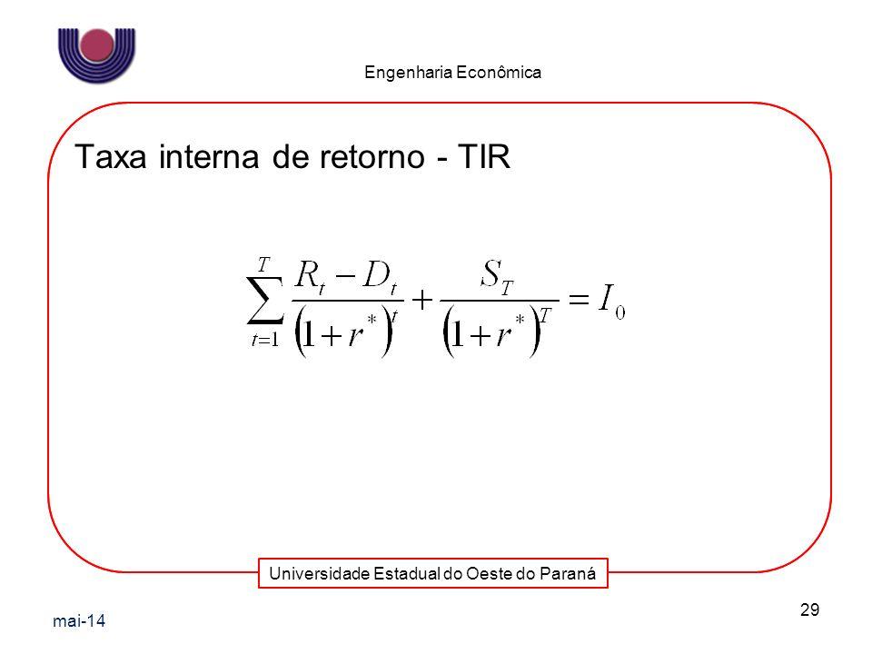Universidade Estadual do Oeste do Paraná Engenharia Econômica Taxa interna de retorno - TIR mai-14 29