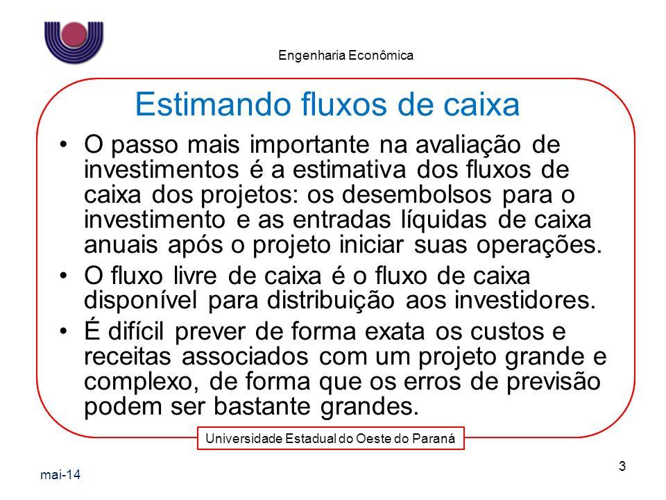 Universidade Estadual do Oeste do Paraná Engenharia Econômica O passo mais importante na avaliação de investimentos é a estimativa dos fluxos de caixa