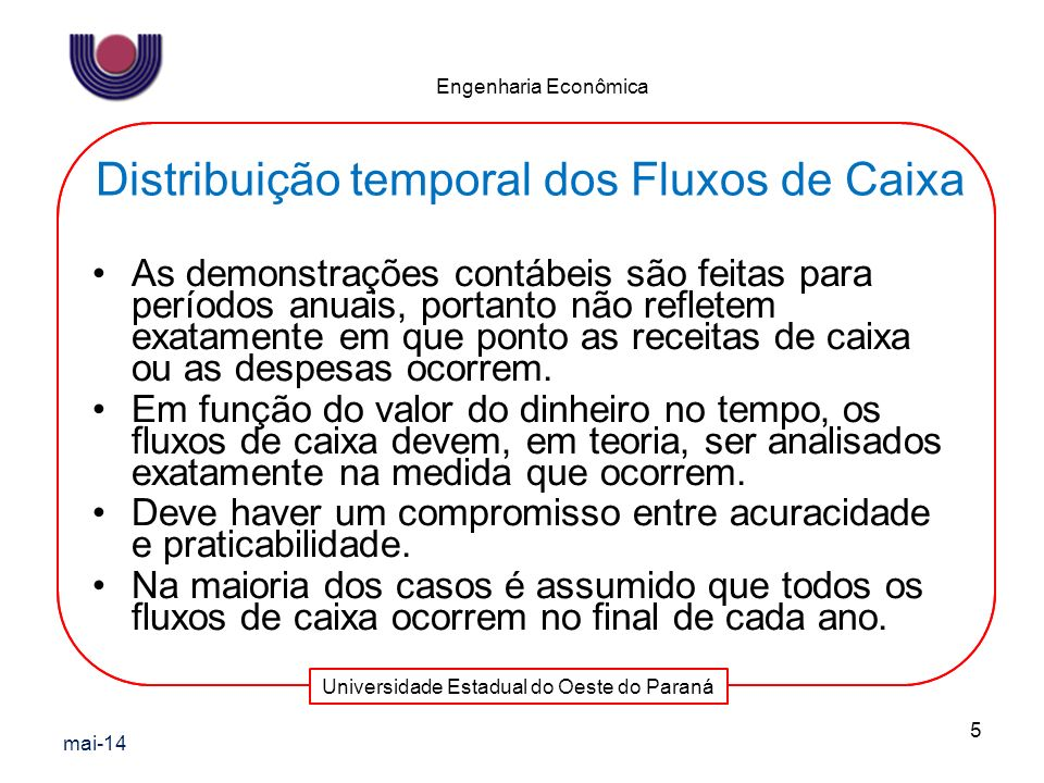 Universidade Estadual do Oeste do Paraná Engenharia Econômica As demonstrações contábeis são feitas para períodos anuais, portanto não refletem exatam