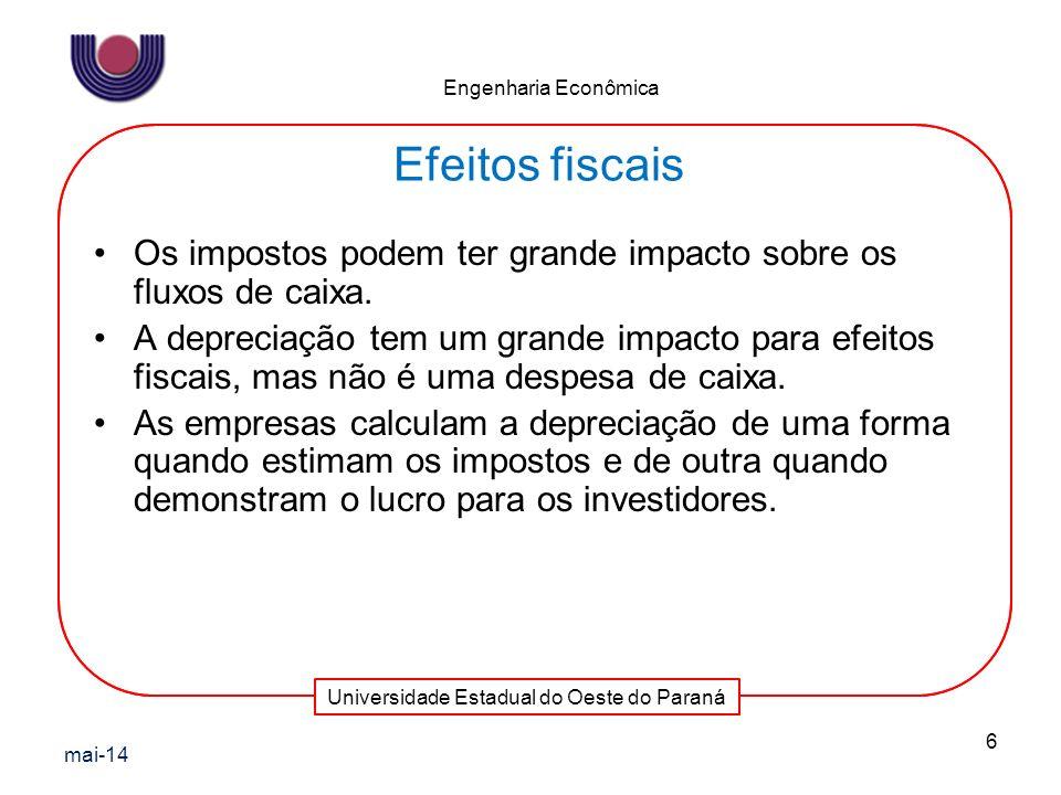 Universidade Estadual do Oeste do Paraná Engenharia Econômica Os impostos podem ter grande impacto sobre os fluxos de caixa. A depreciação tem um gran