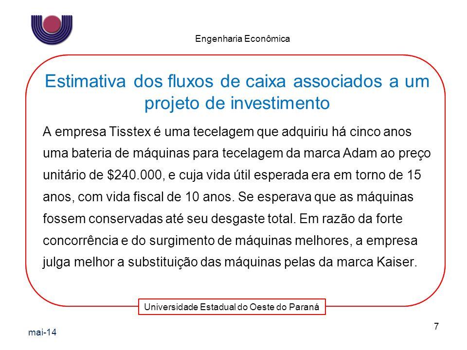 Universidade Estadual do Oeste do Paraná Engenharia Econômica A empresa Tisstex é uma tecelagem que adquiriu há cinco anos uma bateria de máquinas par