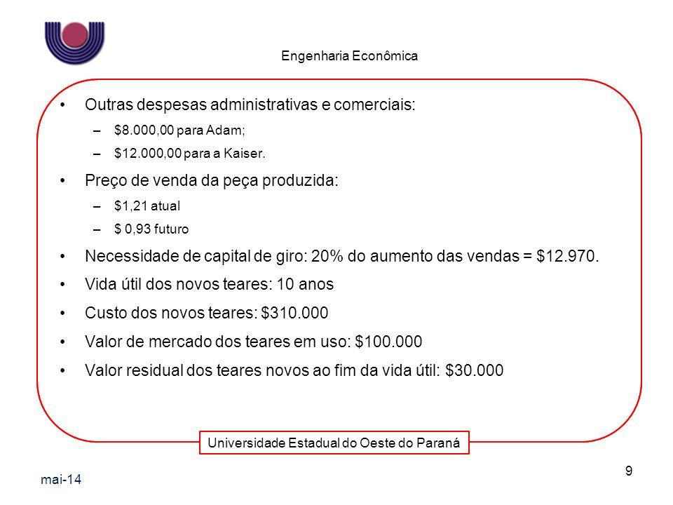 Universidade Estadual do Oeste do Paraná Engenharia Econômica Outras despesas administrativas e comerciais: –$8.000,00 para Adam; –$12.000,00 para a K