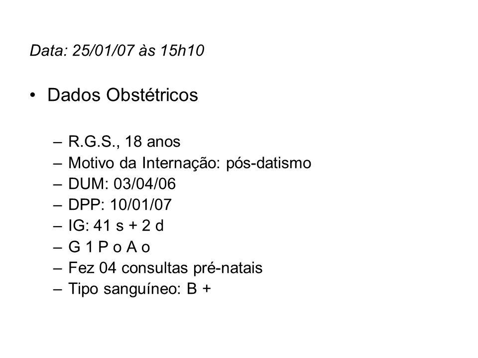 Data: 25/01/07 às 15h10 Dados Obstétricos –R.G.S., 18 anos –Motivo da Internação: pós-datismo –DUM: 03/04/06 –DPP: 10/01/07 –IG: 41 s + 2 d –G 1 P o A