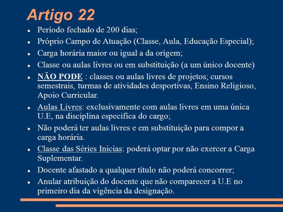 Artigo 22 Período fechado de 200 dias; Próprio Campo de Atuação (Classe, Aula, Educação Especial); Carga horária maior ou igual a da origem; Classe ou