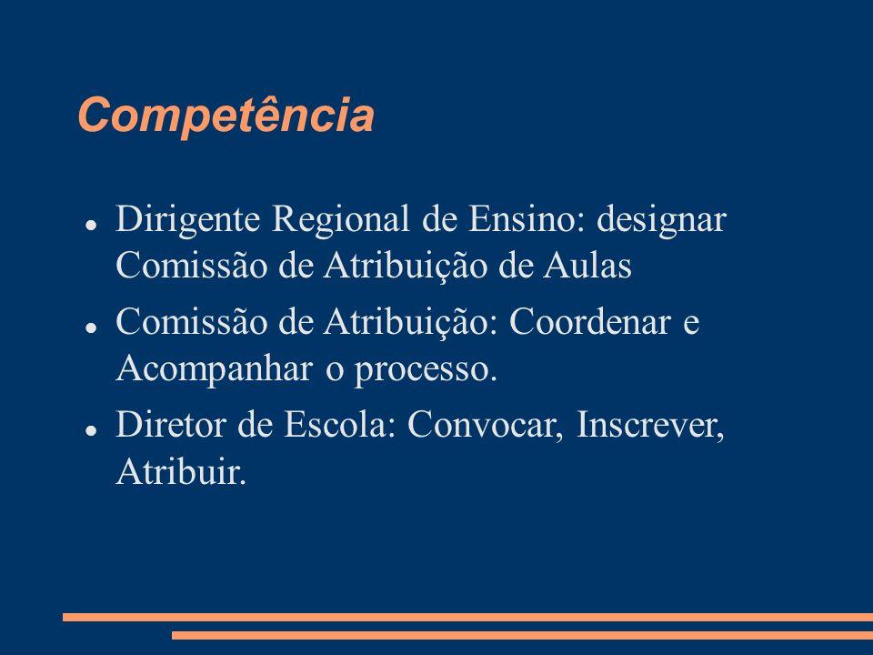 Competência Dirigente Regional de Ensino: designar Comissão de Atribuição de Aulas Comissão de Atribuição: Coordenar e Acompanhar o processo. Diretor