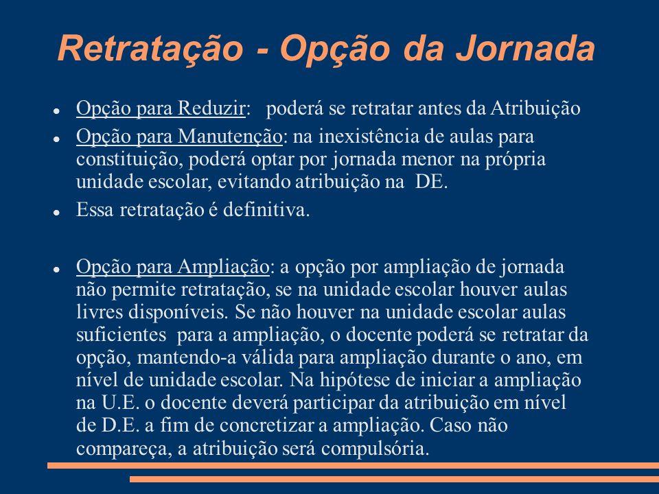 ATRIBUIÇÃO Atribuição OFAs e candidatos à contratação: Carga horária mínima correspondente a Jornada Reduzida; Quem pode.