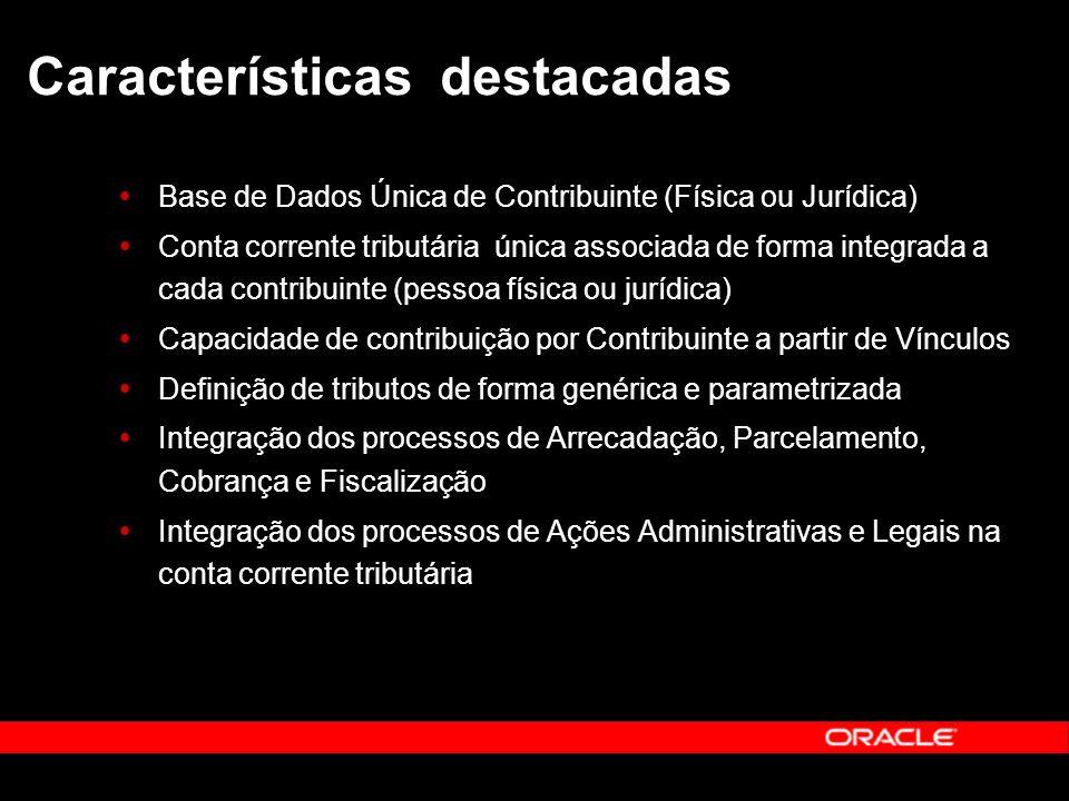 Características destacadas Base de Dados Única de Contribuinte (Física ou Jurídica) Conta corrente tributária única associada de forma integrada a cad