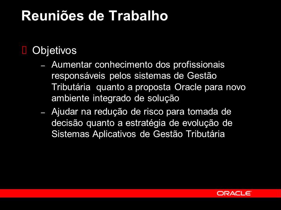 Reuniões de Trabalho Objetivos – Aumentar conhecimento dos profissionais responsáveis pelos sistemas de Gestão Tributária quanto a proposta Oracle para novo ambiente integrado de solução – Ajudar na redução de risco para tomada de decisão quanto a estratégia de evolução de Sistemas Aplicativos de Gestão Tributária