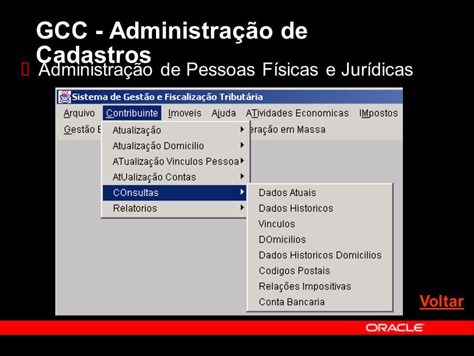 Administração de Pessoas Físicas e Jurídicas Voltar GCC - Administração de Cadastros