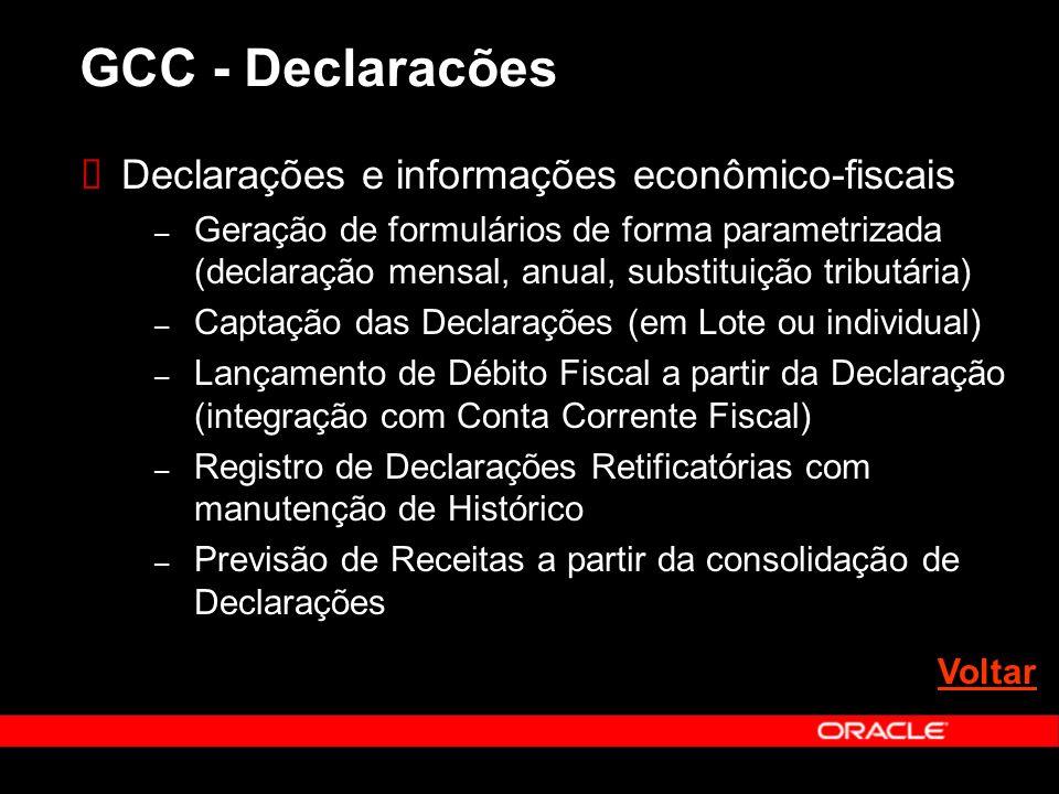 Declarações e informações econômico-fiscais – Geração de formulários de forma parametrizada (declaração mensal, anual, substituição tributária) – Captação das Declarações (em Lote ou individual) – Lançamento de Débito Fiscal a partir da Declaração (integração com Conta Corrente Fiscal) – Registro de Declarações Retificatórias com manutenção de Histórico – Previsão de Receitas a partir da consolidação de Declarações GCC - Declaracões Voltar
