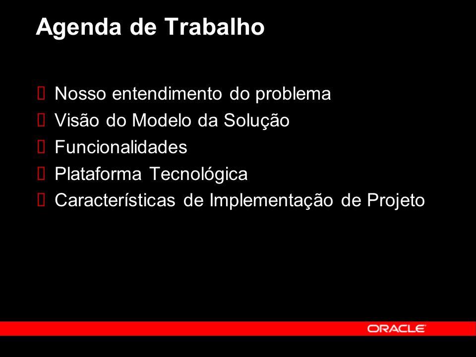 Agenda de Trabalho Nosso entendimento do problema Visão do Modelo da Solução Funcionalidades Plataforma Tecnológica Características de Implementação de Projeto