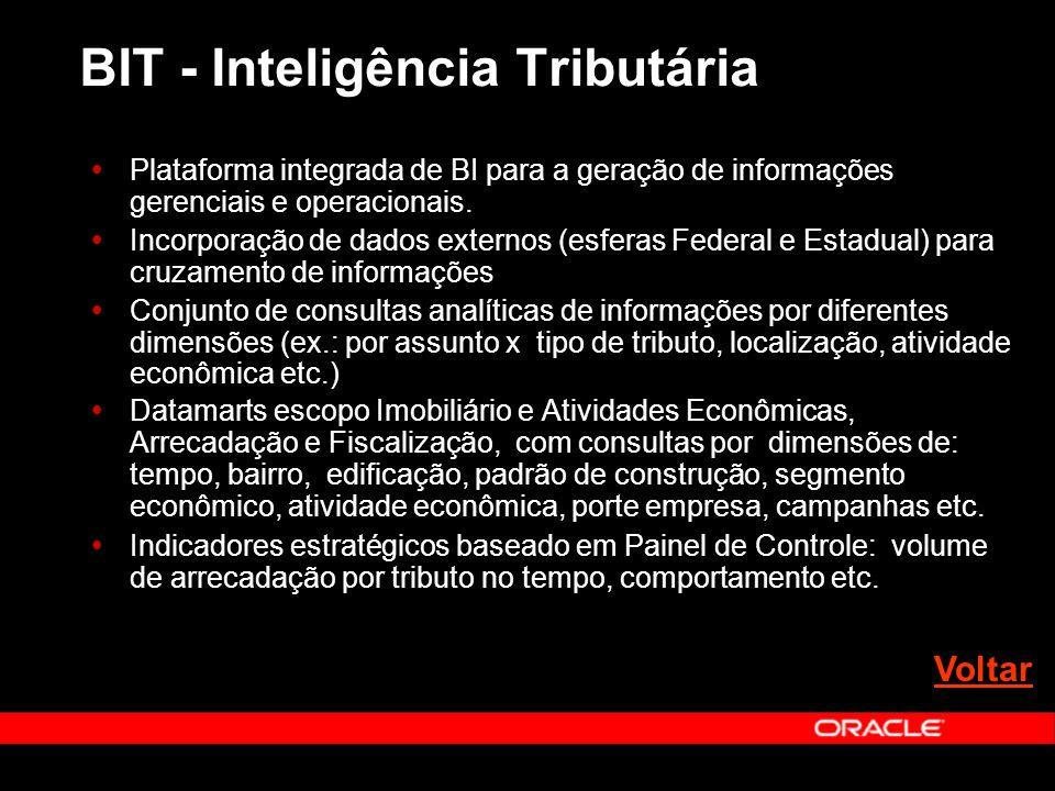 BIT - Inteligência Tributária Plataforma integrada de BI para a geração de informações gerenciais e operacionais. Incorporação de dados externos (esfe