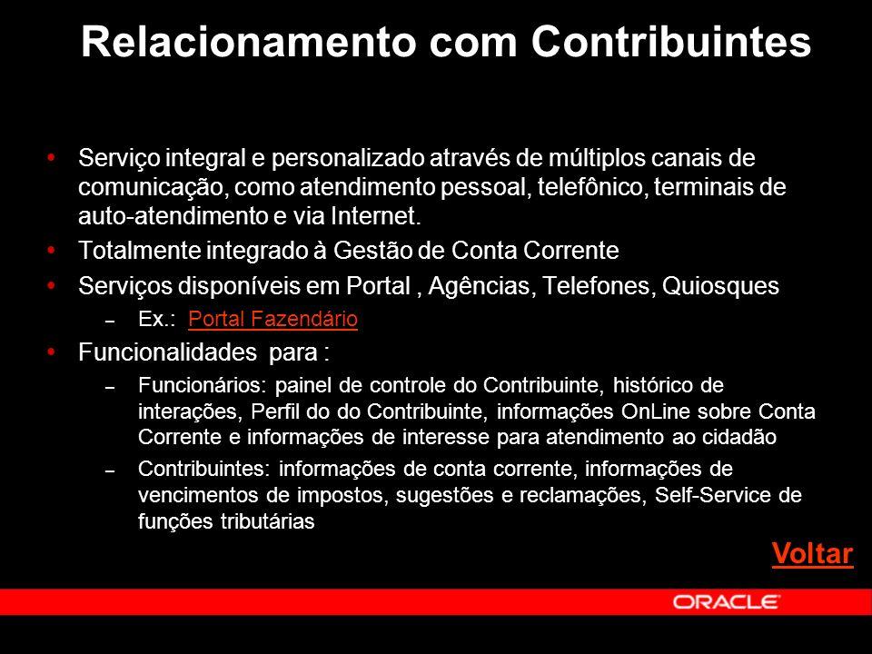 Relacionamento com Contribuintes Serviço integral e personalizado através de múltiplos canais de comunicação, como atendimento pessoal, telefônico, terminais de auto-atendimento e via Internet.