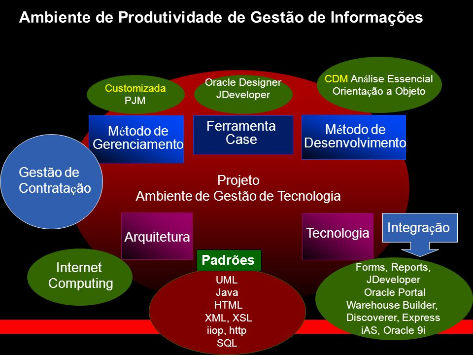 Ambiente de Produtividade de Gestão de Informações Projeto Ambiente de Gestão de Tecnologia M é todo de Desenvolvimento M é todo de Gerenciamento Tecnologia Ferramenta Case Arquitetura Internet Computing Oracle Designer JDeveloper Customizada PJM CDM An á lise Essencial Orienta ç ão a Objeto Forms, Reports, JDeveloper Oracle Portal Warehouse Builder, Discoverer, Express iAS, Oracle 9i UML Java HTML XML, XSL iiop, http SQL Padrões Gestão de Contrata ç ão Integra ç ão