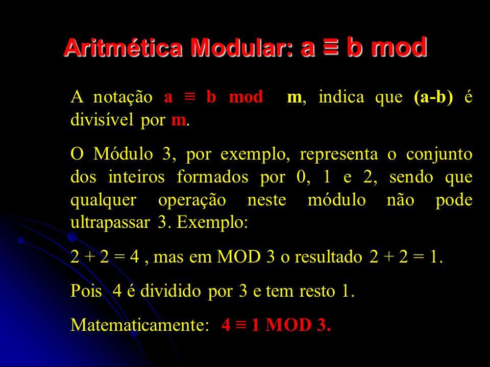 Algoritmo RSA 1) escolher p e q, dois números primos; 2) calcular n=p*q; 3) calcular Φ(n) = (p-1)(q-1); 4) escolher e 5) calcular d, com o Algoritmo de Euclides Estendido 6) Chave pública = (e,n) 7) Chave privada = (d,n) 8) Transformar a frase em ASCII e separar os blocos 9) Aplicar c i = b i e mod n