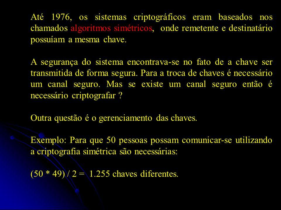 No início da década de 70 a Indústria e Comércio adotam o DES (Data Encryption Standard) Diffie e Hellman, em 1976, criam a concepção de chave pública Em 1977 a criação do RSA (Rivest, Shamir, Adleman) implementa de forma prática as idéias de chave pública Surgimento do PGP na década de 80 Nos algoritmos de Chave Pública: Criptografia garante o SIGILO Assinatura Digital garante a AUTENTICIDADE