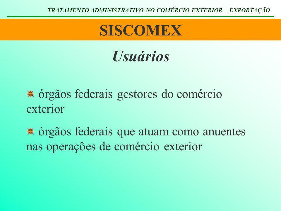 SISCOMEX TRATAMENTO ADMINISTRATIVO NO COMÉRCIO EXTERIOR – EXPORTAÇÃO Usuários órgãos federais gestores do comércio exterior órgãos federais que atuam
