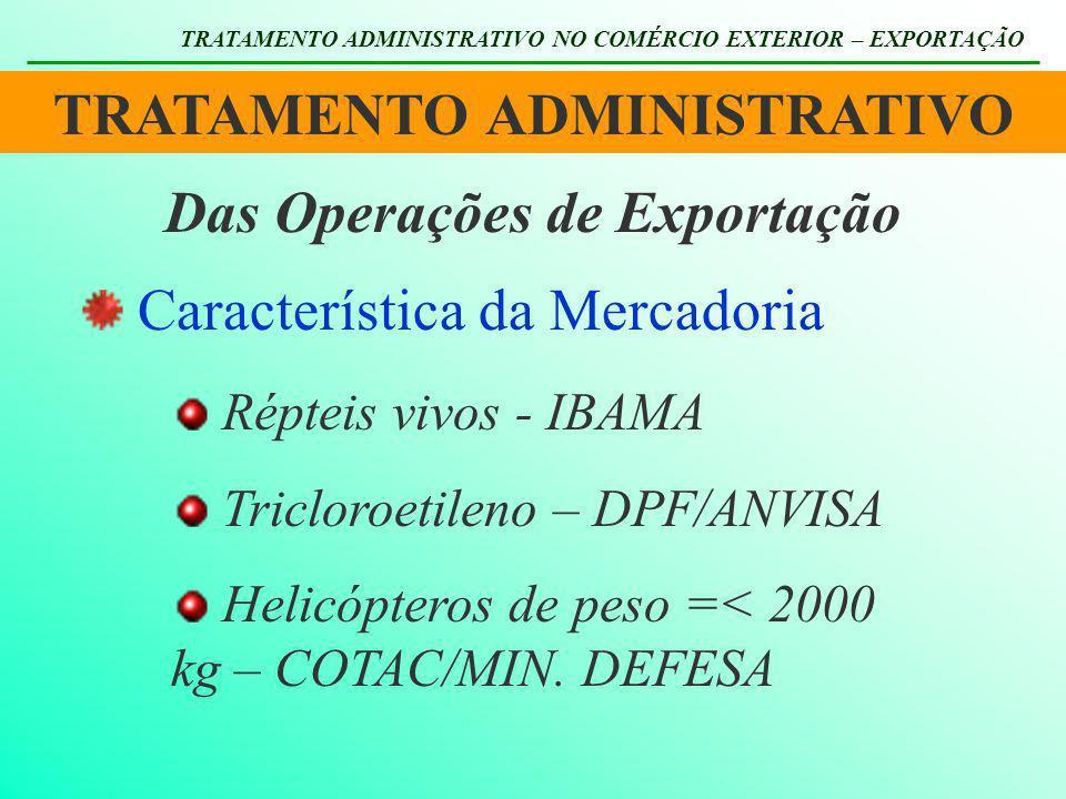TRATAMENTO ADMINISTRATIVO TRATAMENTO ADMINISTRATIVO NO COMÉRCIO EXTERIOR – EXPORTAÇÃO Das Operações de Exportação Característica da Mercadoria Répteis