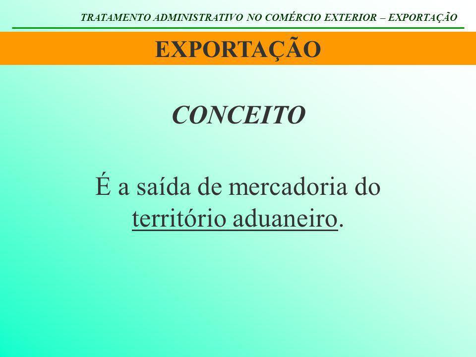 EXPORTAÇÃO TRATAMENTO ADMINISTRATIVO NO COMÉRCIO EXTERIOR – EXPORTAÇÃO Engloba todo o território nacional, incluídos o espaço aéreo, marítimo e terrestre.