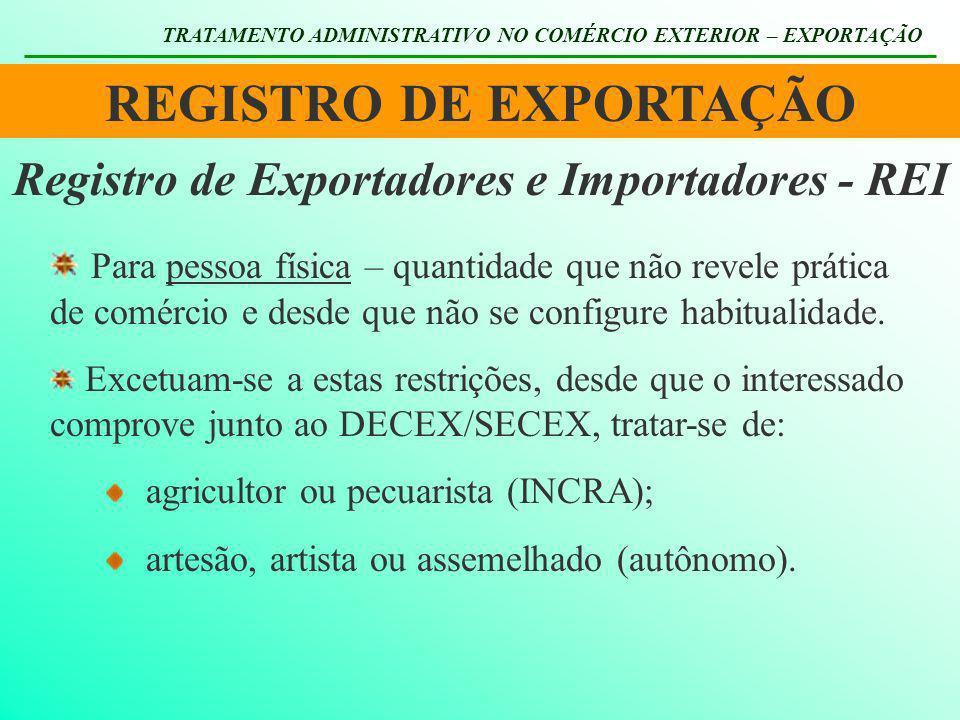 REGISTRO DE EXPORTAÇÃO TRATAMENTO ADMINISTRATIVO NO COMÉRCIO EXTERIOR – EXPORTAÇÃO Registro de Exportadores e Importadores - REI Para pessoa física –