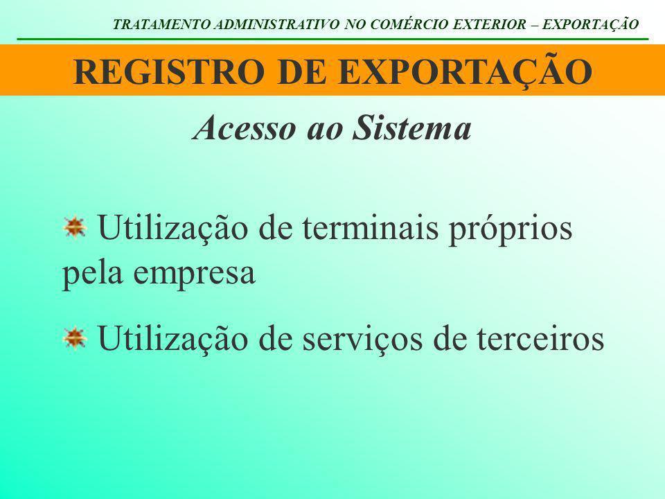 REGISTRO DE EXPORTAÇÃO TRATAMENTO ADMINISTRATIVO NO COMÉRCIO EXTERIOR – EXPORTAÇÃO Utilização de terminais próprios pela empresa Utilização de serviço