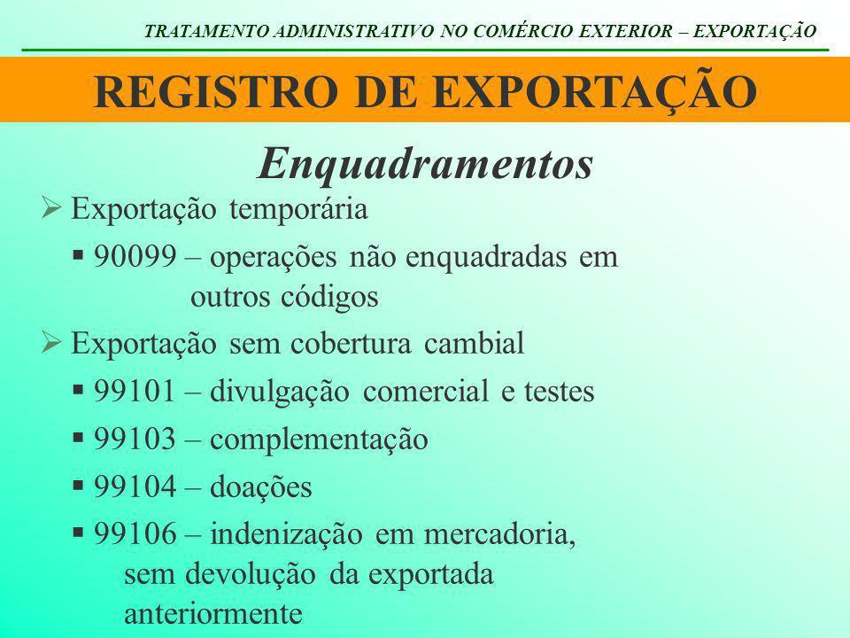 REGISTRO DE EXPORTAÇÃO TRATAMENTO ADMINISTRATIVO NO COMÉRCIO EXTERIOR – EXPORTAÇÃO Enquadramentos Exportação temporária 90099 – operações não enquadra