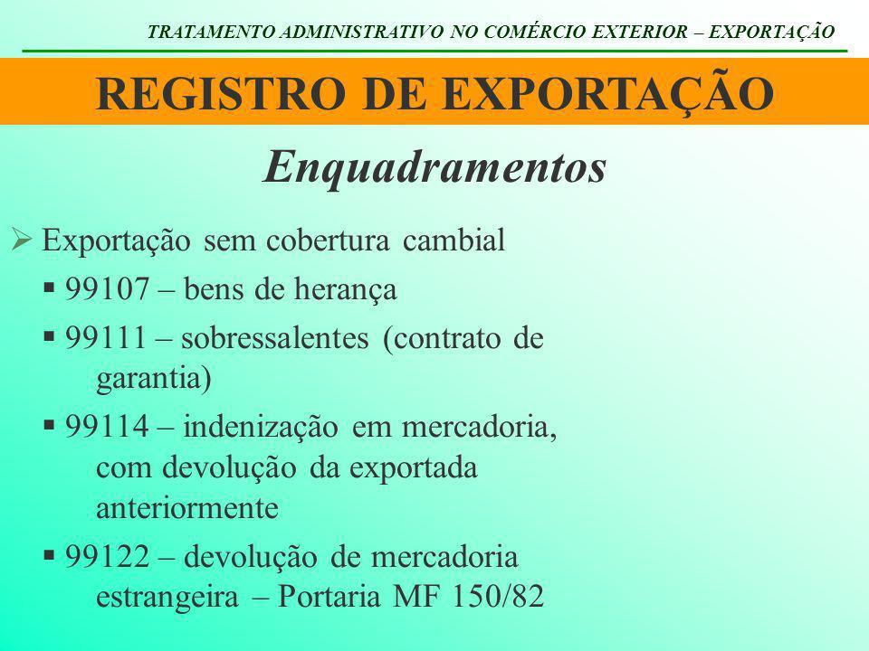 REGISTRO DE EXPORTAÇÃO TRATAMENTO ADMINISTRATIVO NO COMÉRCIO EXTERIOR – EXPORTAÇÃO Enquadramentos Exportação sem cobertura cambial 99107 – bens de her