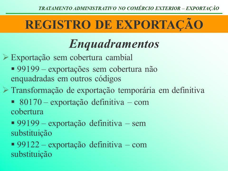 REGISTRO DE EXPORTAÇÃO TRATAMENTO ADMINISTRATIVO NO COMÉRCIO EXTERIOR – EXPORTAÇÃO Enquadramentos Exportação sem cobertura cambial 99199 – exportações