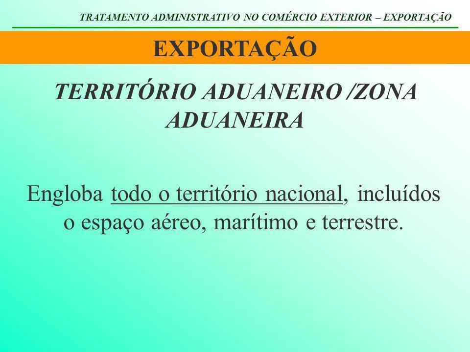 TERRITÓRIO ADUANEIRO TRATAMENTO ADMINISTRATIVO NO COMÉRCIO EXTERIOR – EXPORTAÇÃO Zona Primária Corresponde à área ocupada pelos portos alfandegados, pelos aeroportos alfandegados e pelos pontos de fronteira alfandegados.