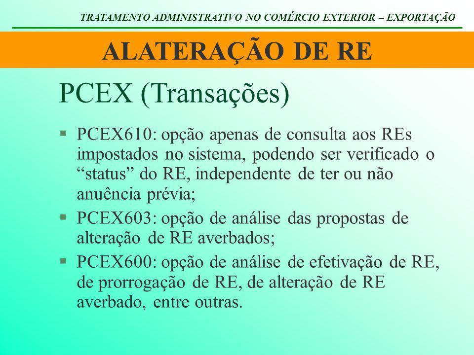 ALATERAÇÃO DE RE TRATAMENTO ADMINISTRATIVO NO COMÉRCIO EXTERIOR – EXPORTAÇÃO §PCEX610: opção apenas de consulta aos REs impostados no sistema, podendo
