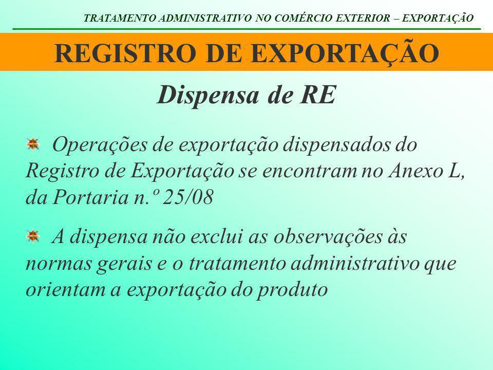 REGISTRO DE EXPORTAÇÃO TRATAMENTO ADMINISTRATIVO NO COMÉRCIO EXTERIOR – EXPORTAÇÃO Dispensa de RE Operações de exportação dispensados do Registro de E