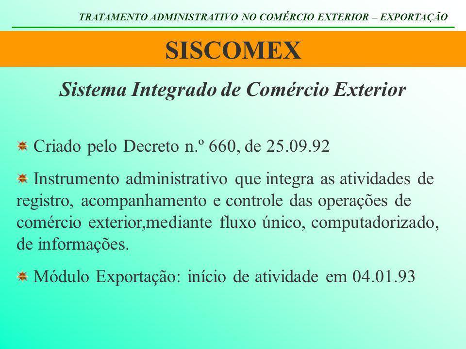 SISCOMEX TRATAMENTO ADMINISTRATIVO NO COMÉRCIO EXTERIOR – EXPORTAÇÃO Sistema Integrado de Comércio Exterior Criado pelo Decreto n.º 660, de 25.09.92 I