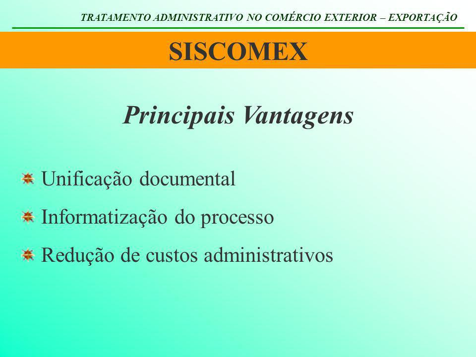 SISCOMEX TRATAMENTO ADMINISTRATIVO NO COMÉRCIO EXTERIOR – EXPORTAÇÃO Principais Vantagens Unificação documental Informatização do processo Redução de