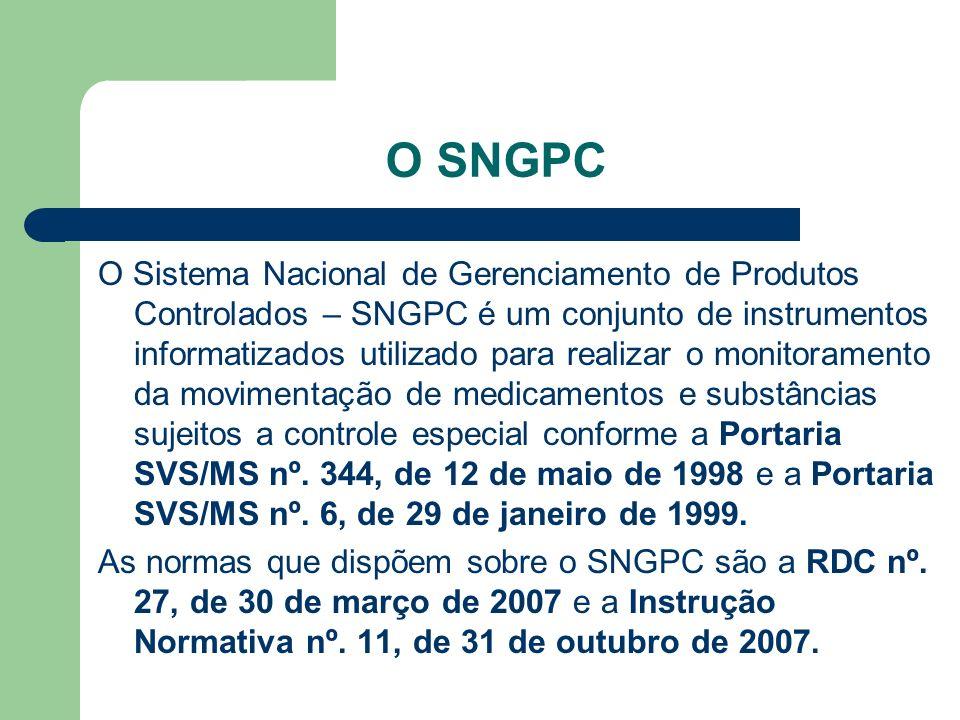 O SNGPC O Sistema Nacional de Gerenciamento de Produtos Controlados – SNGPC é um conjunto de instrumentos informatizados utilizado para realizar o mon