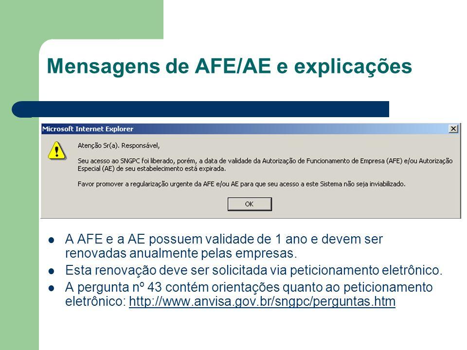 Mensagens de AFE/AE e explicações A AFE e a AE possuem validade de 1 ano e devem ser renovadas anualmente pelas empresas. Esta renovação deve ser soli