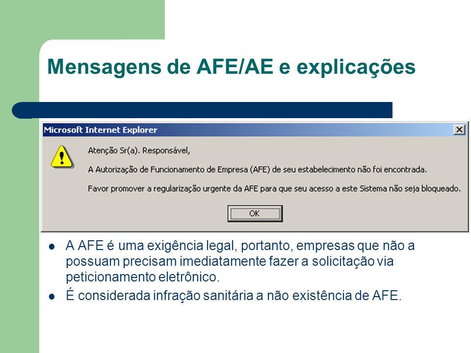 Mensagens de AFE/AE e explicações A AFE é uma exigência legal, portanto, empresas que não a possuam precisam imediatamente fazer a solicitação via pet