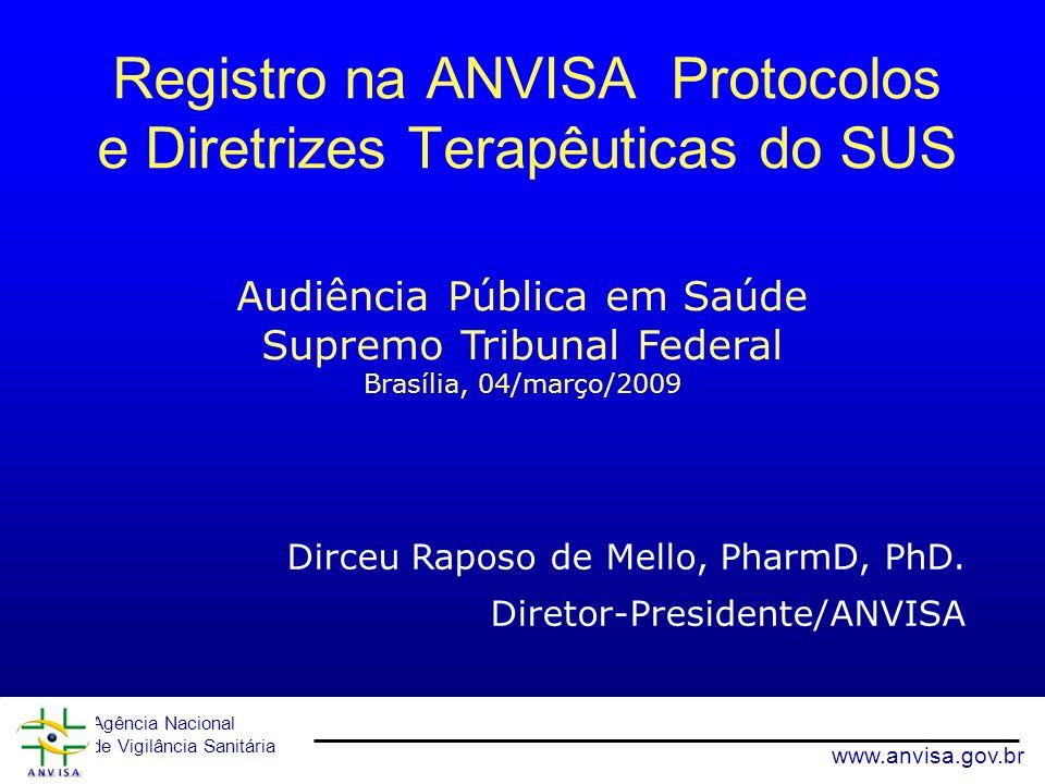 Agência Nacional de Vigilância Sanitária www.anvisa.gov.br Registro na ANVISA Protocolos e Diretrizes Terapêuticas do SUS Dirceu Raposo de Mello, Phar