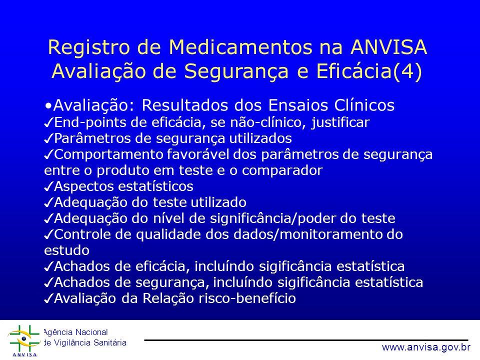 Agência Nacional de Vigilância Sanitária www.anvisa.gov.br Avaliação: Resultados dos Ensaios Clínicos End-points de eficácia, se não-clínico, justific