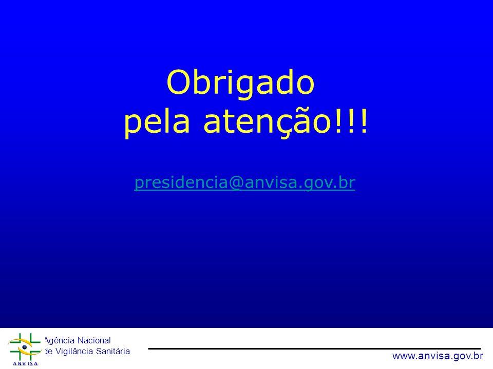 Obrigado pela atenção!!! Agência Nacional de Vigilância Sanitária www.anvisa.gov.br presidencia@anvisa.gov.br