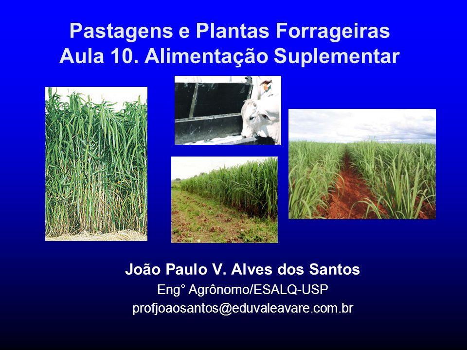 Pastagens e Plantas Forrageiras Aula 10. Alimentação Suplementar João Paulo V. Alves dos Santos Eng° Agrônomo/ESALQ-USP profjoaosantos@eduvaleavare.co