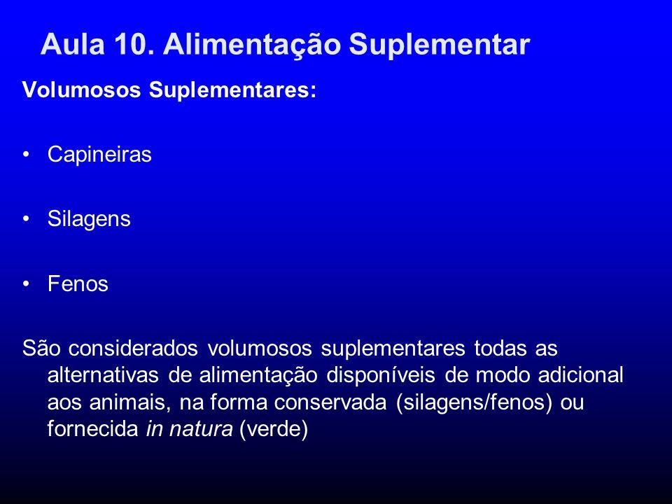Aula 10. Alimentação Suplementar Volumosos Suplementares: Capineiras Silagens Fenos São considerados volumosos suplementares todas as alternativas de