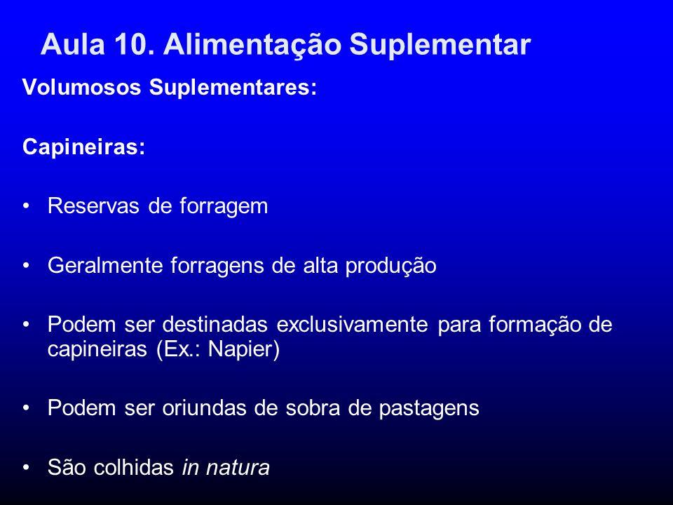 Aula 10. Alimentação Suplementar Volumosos Suplementares: Capineiras: Reservas de forragem Geralmente forragens de alta produção Podem ser destinadas