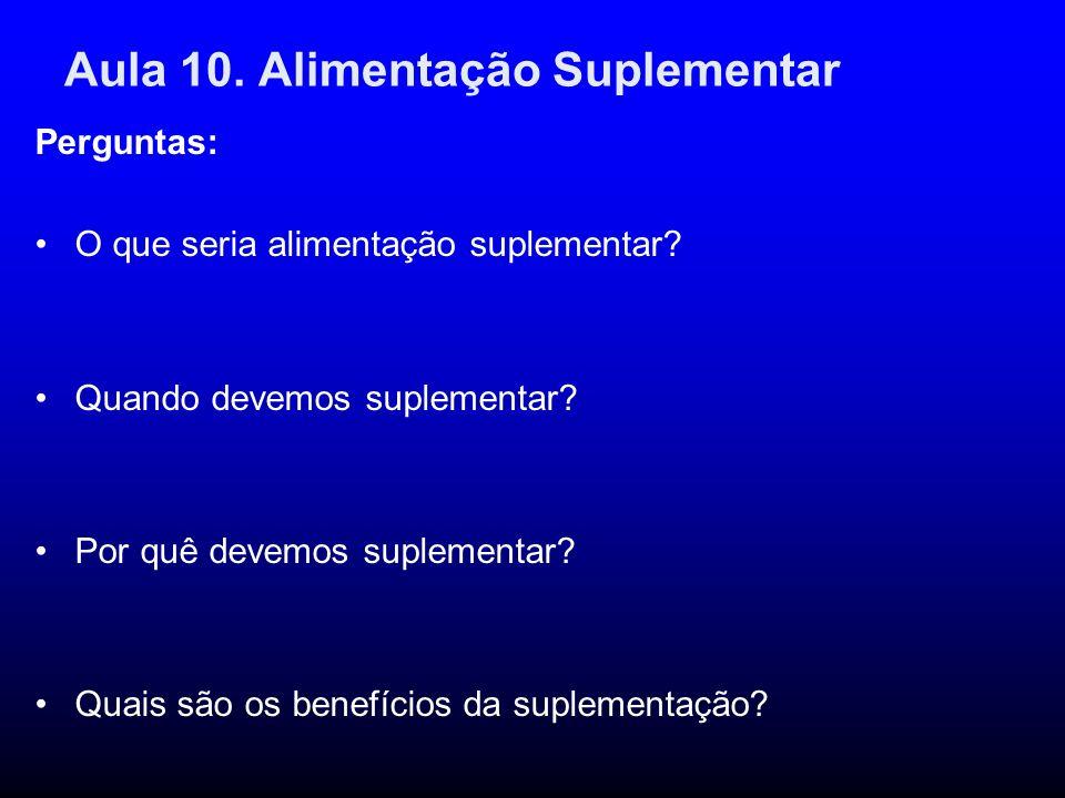 Aula 10. Alimentação Suplementar Perguntas: O que seria alimentação suplementar? Quando devemos suplementar? Por quê devemos suplementar? Quais são os