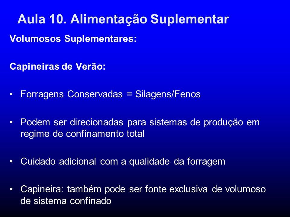 Aula 10. Alimentação Suplementar Volumosos Suplementares: Capineiras de Verão: Forragens Conservadas = Silagens/Fenos Podem ser direcionadas para sist