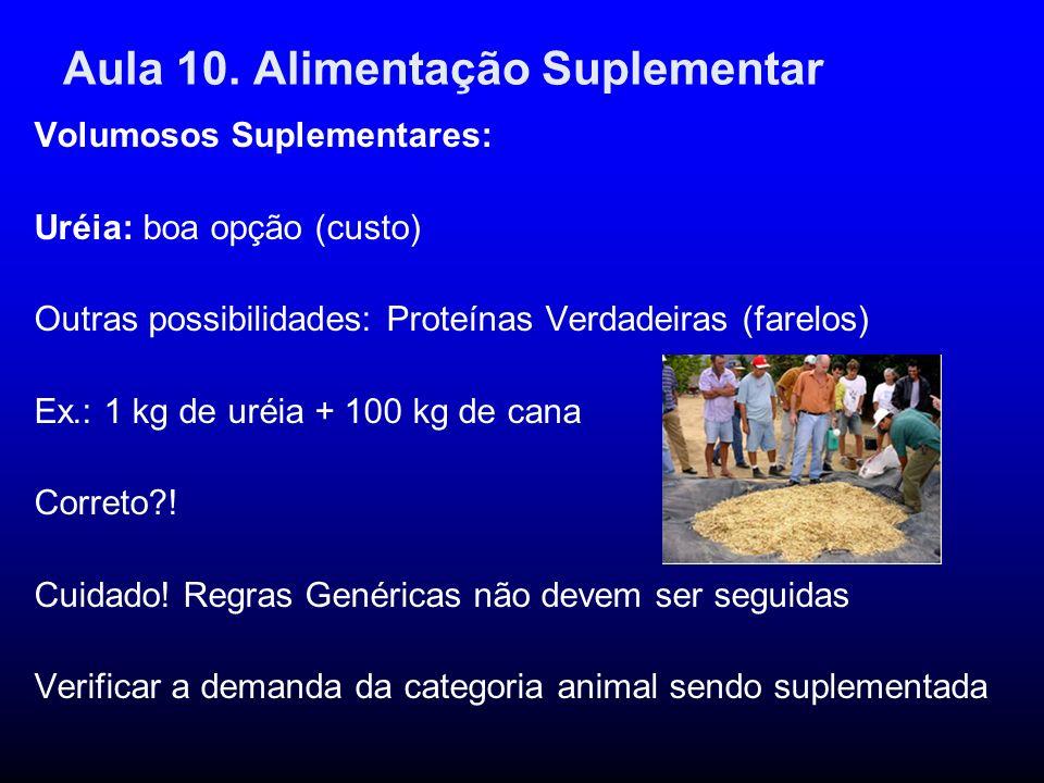 Aula 10. Alimentação Suplementar Volumosos Suplementares: Uréia: boa opção (custo) Outras possibilidades: Proteínas Verdadeiras (farelos) Ex.: 1 kg de