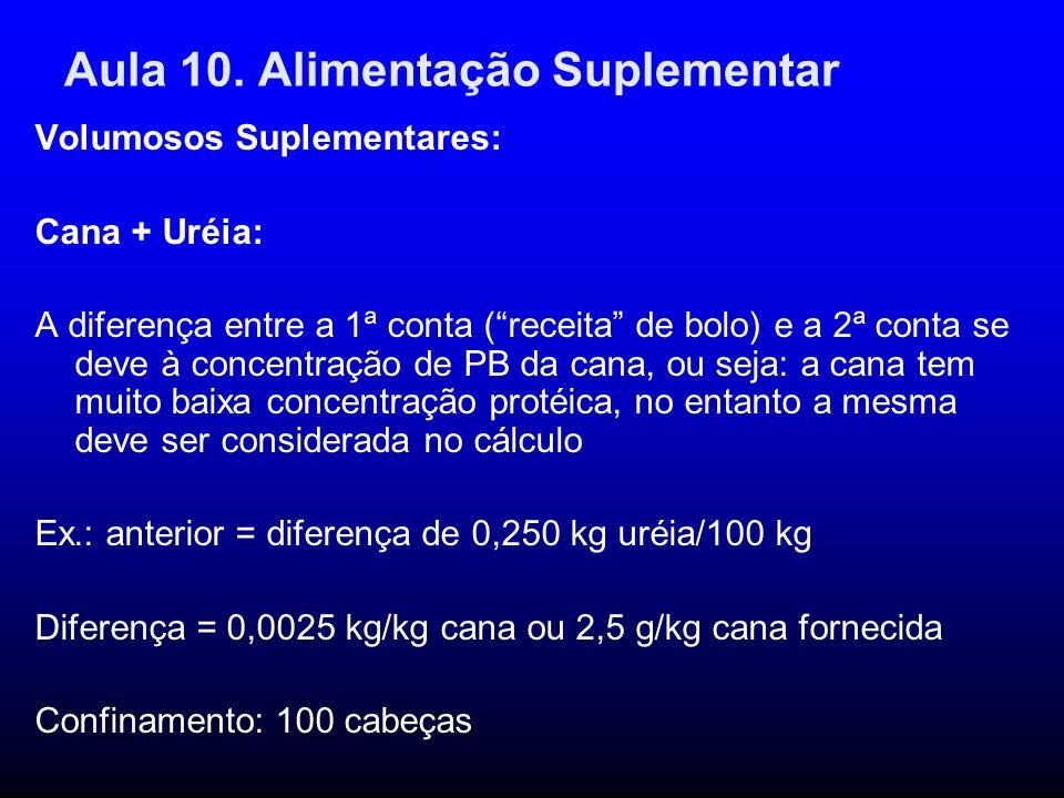 Aula 10. Alimentação Suplementar Volumosos Suplementares: Cana + Uréia: A diferença entre a 1ª conta (receita de bolo) e a 2ª conta se deve à concentr