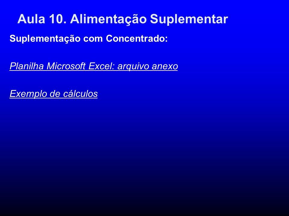 Aula 10. Alimentação Suplementar Suplementação com Concentrado: Planilha Microsoft Excel: arquivo anexo Exemplo de cálculos