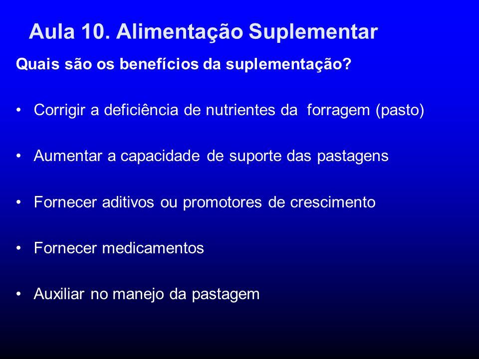 Aula 10. Alimentação Suplementar Quais são os benefícios da suplementação? Corrigir a deficiência de nutrientes da forragem (pasto) Aumentar a capacid
